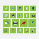 Ensemble d'icônes sur le thème de la conception avec l'ombre vert clair Photographie stock