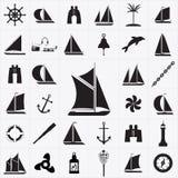 Ensemble d'icônes sur le thème du voyage par la mer illustration stock