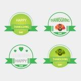 Ensemble d'icônes sur un thème de thanksgiving de vintage Image stock