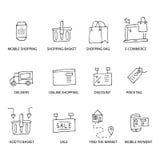 Ensemble d'icônes tirées par la main d'achats Photo stock