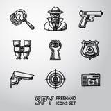 Ensemble d'icônes tirées par la main d'espion - empreinte digitale, espion, arme à feu Images libres de droits