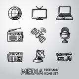 Ensemble d'icônes tirées par la main de media - actualités, radio, TV Photographie stock
