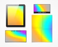 Ensemble d'identité d'entreprise avec une impression lumineuse d'hologramme de fond Photos libres de droits
