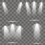 Ensemble d'illumination de scènes Effet de lumière froide Projecteur lumineux par étape sur le fond transparent Illustration de v illustration stock