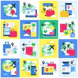 Ensemble d'illustration avec des concepts au sujet de la réservation de voyage photographie stock libre de droits