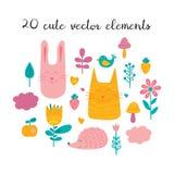 Ensemble d'illustration d'amis de forêt Collection d'animaux, d'oiseaux, de fleurs, de plantes et de fruits drôles dans le style  illustration de vecteur