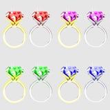 Ensemble d'illustration d'anneaux avec les pierres précieuses Photos libres de droits