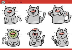 Ensemble d'illustration de bande dessinée d'émotions de chat Image stock