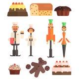 Ensemble d'illustration de boulangerie et de boulangers illustration de vecteur