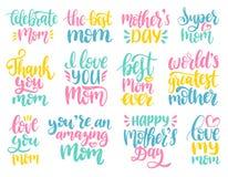 Ensemble d'illustration de calligraphie de jour de mères Dirigez la collection manuscrite d'expressions pour la carte de voeux, l Photographie stock