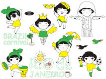Ensemble d'illustration de caractères d'icônes du Brésil illustration de vecteur