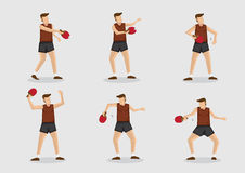 Ensemble d'illustration de caractère de vecteur de joueur de ping-pong Images libres de droits
