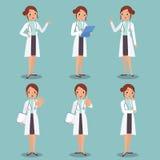 Ensemble d'illustration de conception de personnages femelle mignonne de docteur dans le vario Image libre de droits