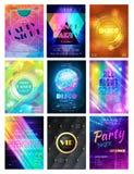 Ensemble d'illustration de contexte faites la fête le fond de club de disco de modèle de vecteur ou d'affiche de boîte de nuit et illustration stock