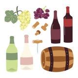 Ensemble d'illustration de dessin de main de vinification illustration stock