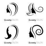 Ensemble d'illustration de femme avec de beaux cheveux Images stock