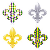 Ensemble d'illustration de fleur de lis Mardi Gras Image stock