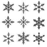 Ensemble d'illustration de flocons de neige Images stock