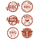 Ensemble d'illustration de labels de BBQ Image stock