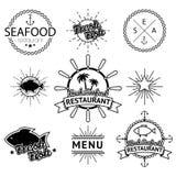 Ensemble d'illustration de labels de fruits de mer Images stock
