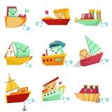 Ensemble d'illustration de Toy Boats With Faces Colorful Photo stock