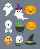 Ensemble d'illustration de vecteur d'éléments, de caractères mignons et d'icônes de Halloween pour votre conception d'isolement s illustration libre de droits
