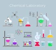 Ensemble d'illustration de vecteur d'équipement de laboratoire chimique Verre chimique avec de diverses solutions et réactions ch illustration stock