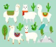 Ensemble d'illustration de vecteur d'alpaga et de lamas drôles mignons avec les éléments de cactus, montagnes sur le fond bleu Be illustration libre de droits