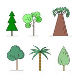Ensemble d'illustration de vecteur d'arbres Illustration Stock