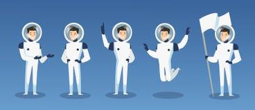 Ensemble d'illustration de vecteur d'astronautes de bande dessinée, astronaute dans différentes positions Cosmonaute mobile dans  illustration de vecteur