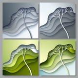 Ensemble d'illustration de vecteur avec l'arbre stylisé Photo stock