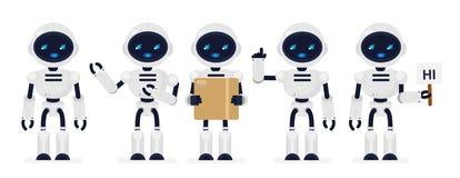 Ensemble d'illustration de vecteur de couleur blanche de robots mignons dans différentes poses dans le style plat de bande dessin illustration libre de droits