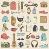 Ensemble d'illustration de vecteur d'habillement d'accessoires de mode et d'hommes de style Photographie stock
