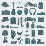 Ensemble d'illustration de vecteur d'habillement d'accessoires de mode et d'hommes de style Photos stock