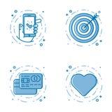 Ensemble d'illustration de vecteur de ligne audacieuse plate icônes avec l'étoile - signe préféré, bouclier - sécurité de Web, 24 Photo libre de droits