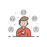 Ensemble d'illustration de vecteur de ligne audacieuse plate icônes avec l'étoile - signe préféré, bouclier - sécurité de Web, 24 Photo stock