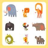 Ensemble d'illustration de vecteur de Safari Animals et d'oiseaux illustration de vecteur