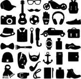 Ensemble d'illustration de vecteur de style d'habillement d'accessoires et d'hommes de mode Photos libres de droits