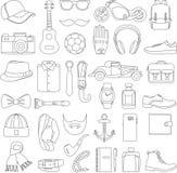 Ensemble d'illustration de vecteur de style d'habillement d'accessoires et d'hommes de mode Photographie stock libre de droits