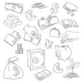 Ensemble d'illustration de vecteur de symbole d'argent de griffonnage illustration libre de droits
