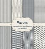 Ensemble d'illustration de vecteur de vagues sans couture de modèles illustration libre de droits