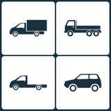 Ensemble d'illustration de vecteur d'icônes de camion et de transport Éléments d'icône de camion, de transport et de Mini Car Photos libres de droits