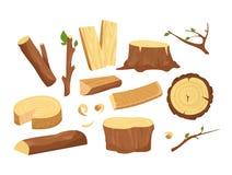 Ensemble d'illustration de vecteur de matériaux pour l'industrie du bois Collection de rondins, de planches, de tronçon, de brind illustration libre de droits