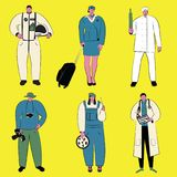 Ensemble d'illustration de vecteur de personnes de différentes professions Images libres de droits