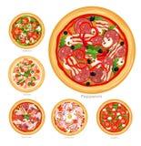 Ensemble d'illustration de vecteur de pizza avec différents ingrédients Pizza végétarienne délicieuse et pizza avec de la viande  illustration de vecteur