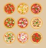 Ensemble d'illustration de vecteur de pizza avec différents ingrédients, de pizza végétarienne, de margarita et de fruits de mer  illustration de vecteur