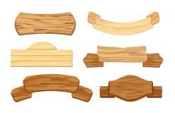 Ensemble d'illustration de vecteur de planches ou d'enseignes en bois Rétros bannières de vintage Signes ou indicateurs, poteau i illustration stock