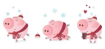 Ensemble d'illustration de vecteur de porcs mignons dans une écharpe d'hiver photographie stock libre de droits