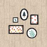 Ensemble d'illustration de vecteur de texture de cadre Vue noire d'affiche de photo de photo sur le fond en bois Photo stock
