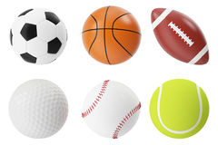 Ensemble d'illustration des boules 3d de sports Basket-ball, football, tennis, football, base-ball et golf Image stock